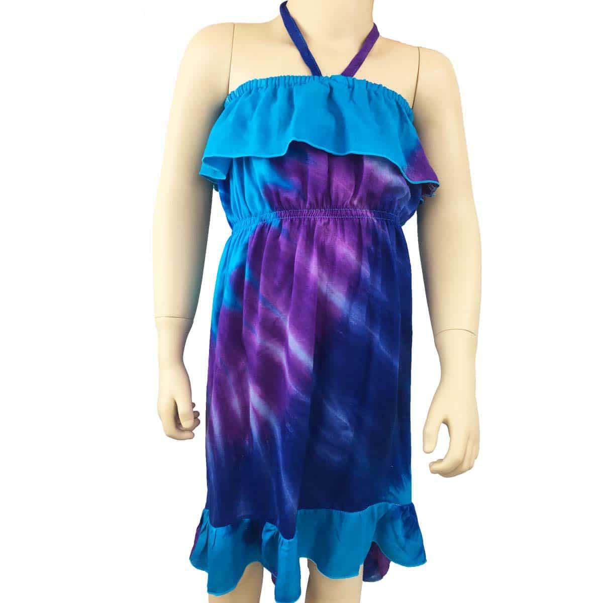 Girls Summer Beach Dress Tie Dye Blue Purple Tropicool