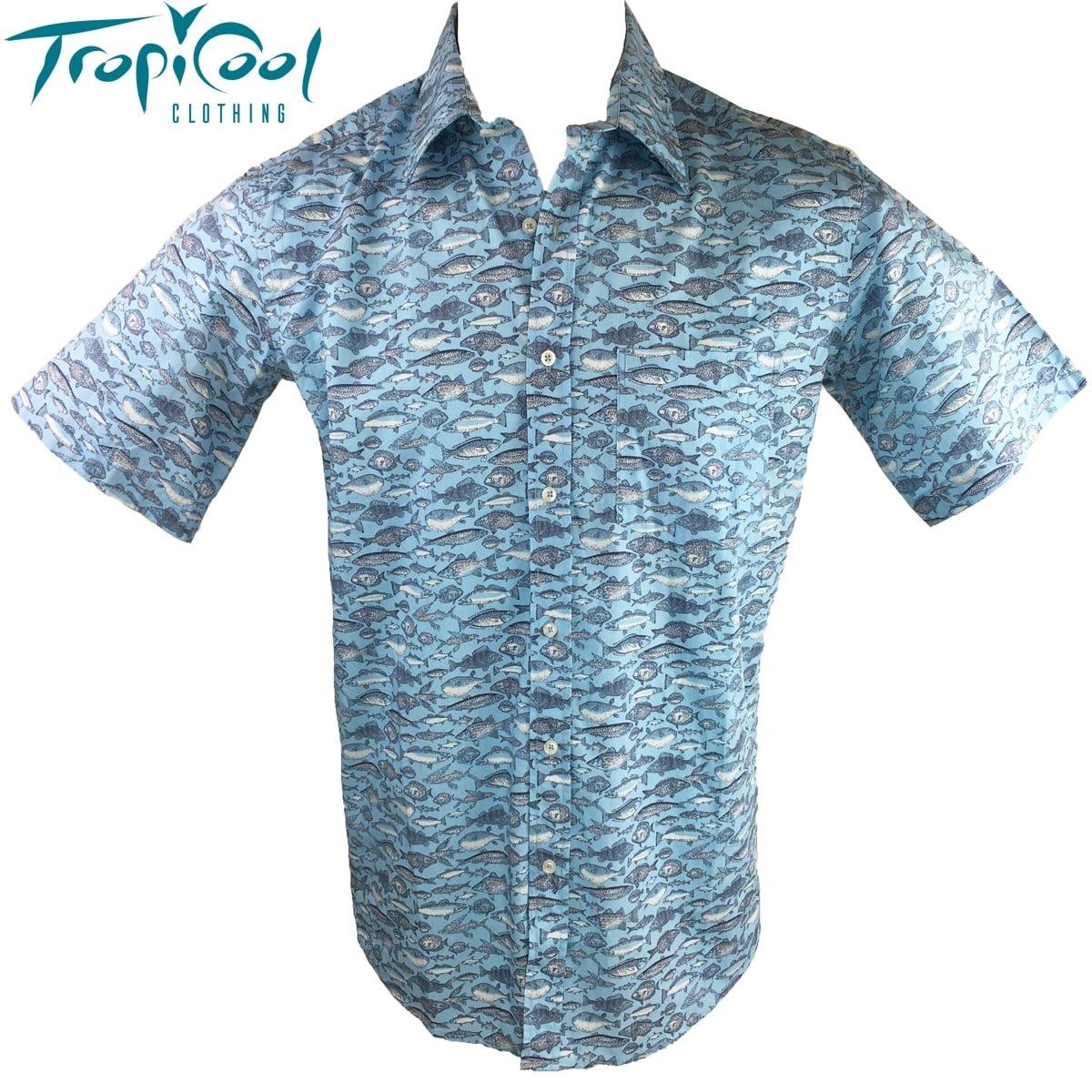 Light blue mens hawaiian shirts cotton ocean fish for Fish hawaiian shirt