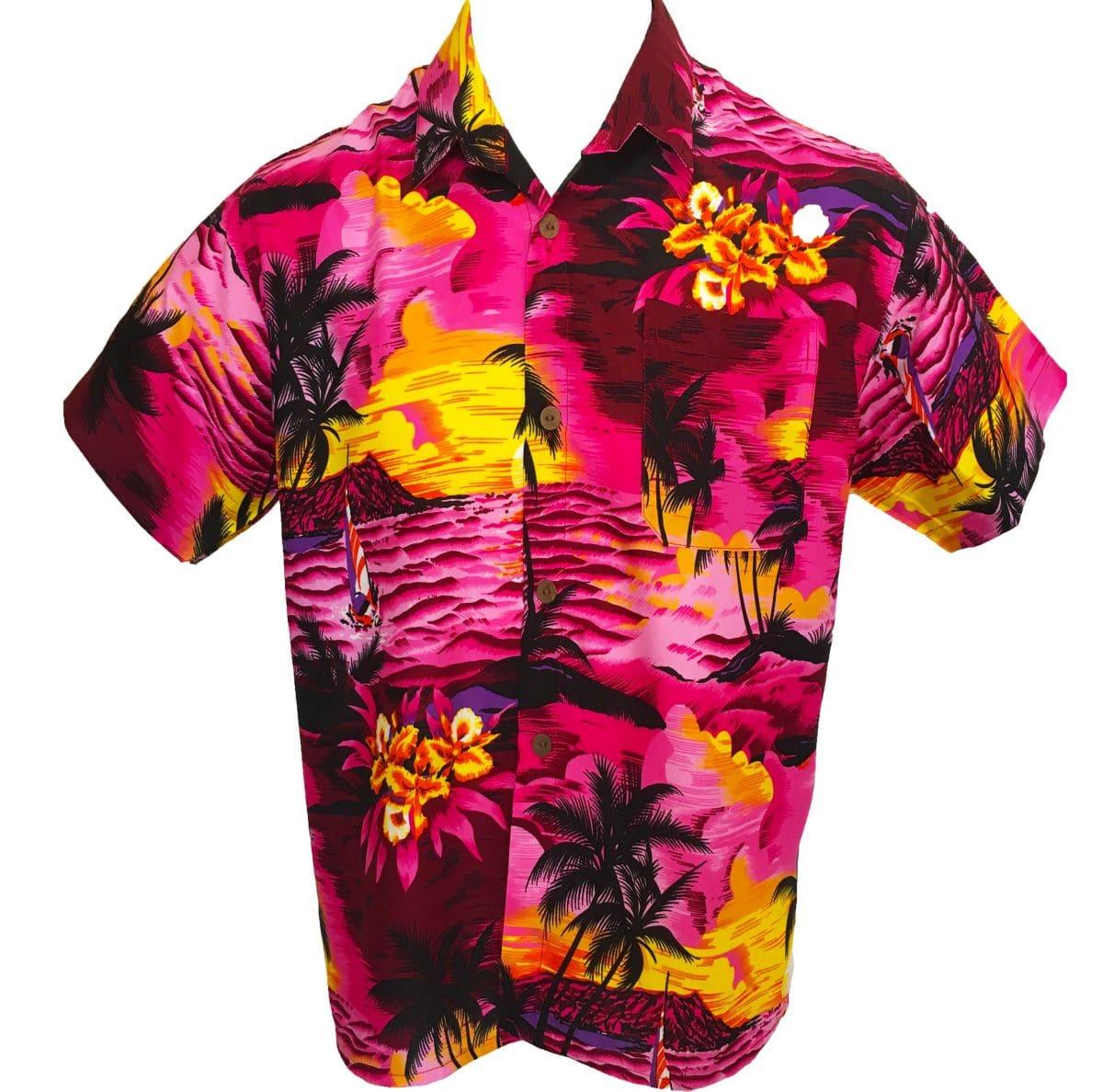 995f7632 Sunset Pink Mens Hawaiian Shirts Party Fancy Dress Casual Rayon ...
