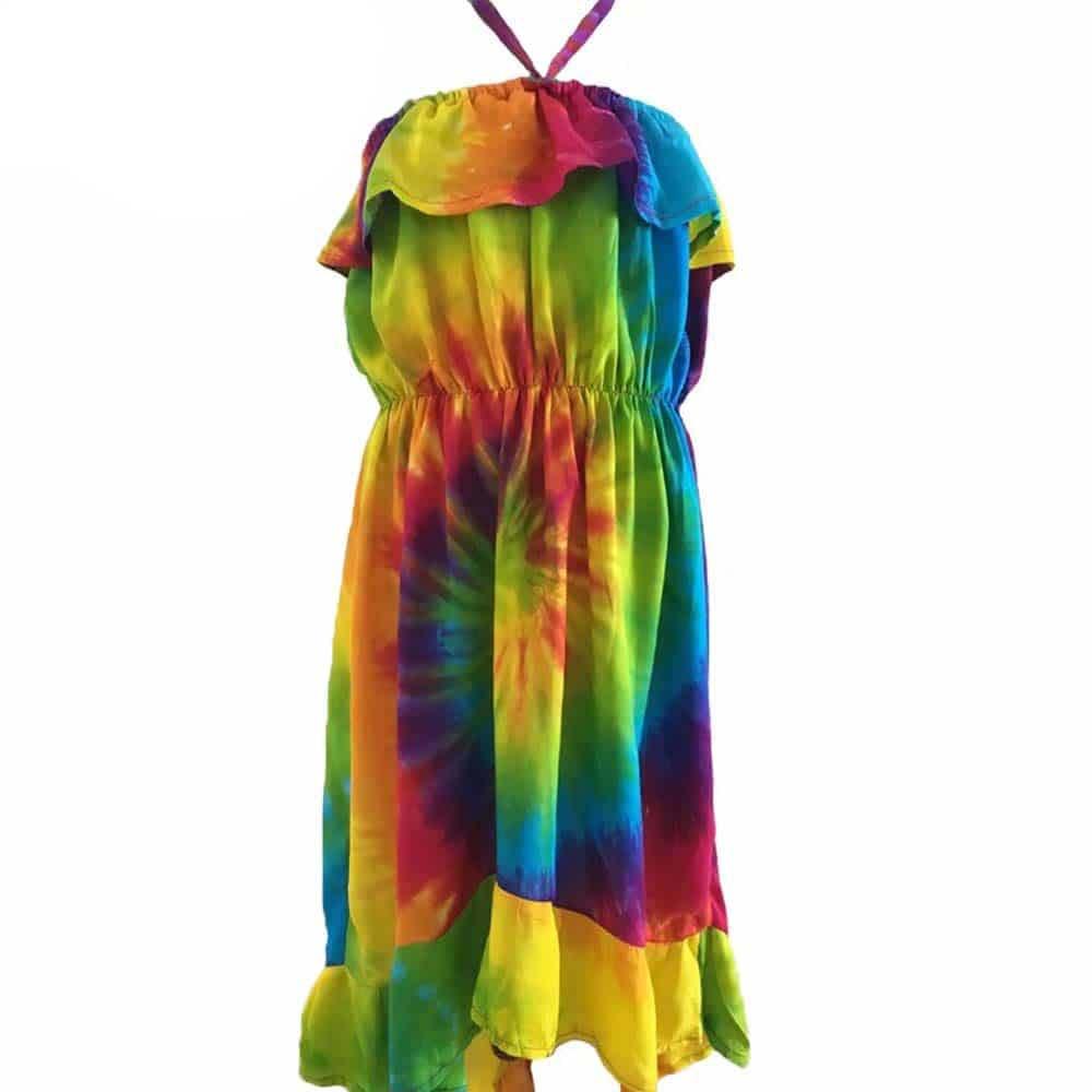 Girls Summer Beach Dress Tie Dye Rainbow Tropicool Clothing