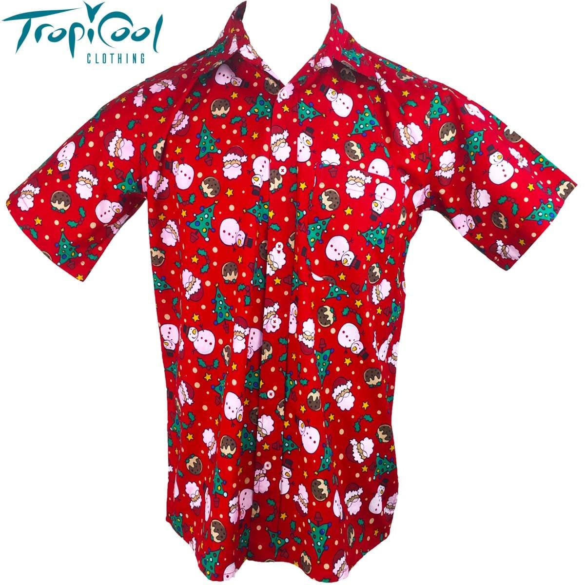 17005a88d Santa Snowman Mens Hawaiian Cotton Shirts Christmas - Tropicool Clothing