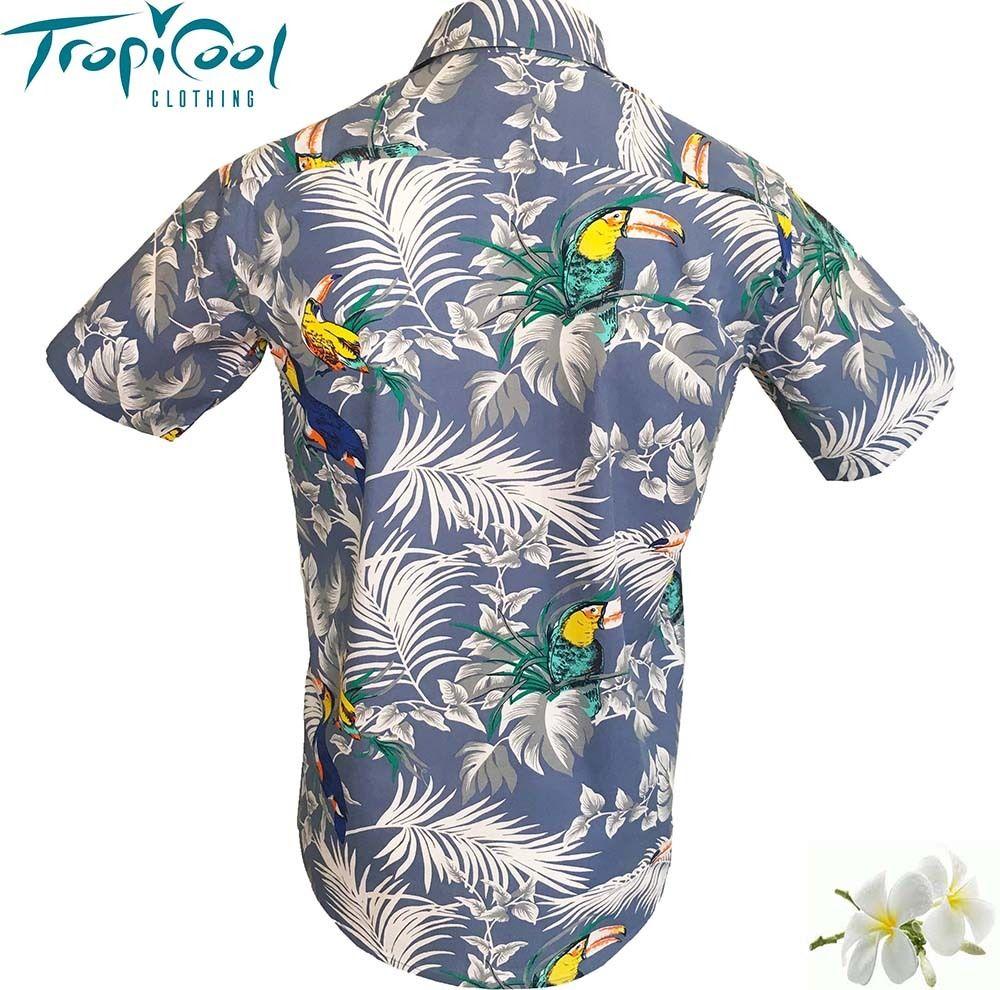 Fish toucan bird cotton mens hawaiian shirts tiki casual for Fish hawaiian shirt