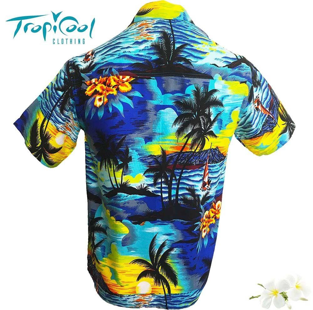 f1a54be6b42 Sunset-Blue-Mens-Hawaiian-Shirt-Party-Fancy-Dress-Casual-Big-Boys ...