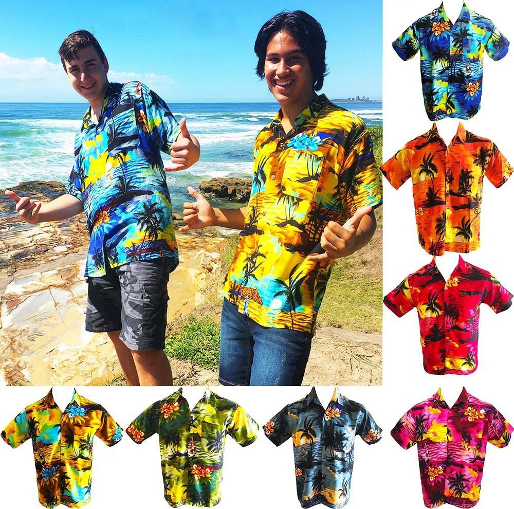 sunset pink mens hawaiian shirts party fancy dress casual