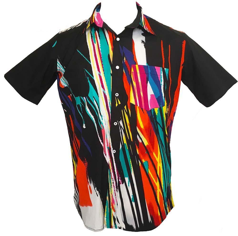 psychedelic cotton blend black colourful hawaiian shirts loud retro