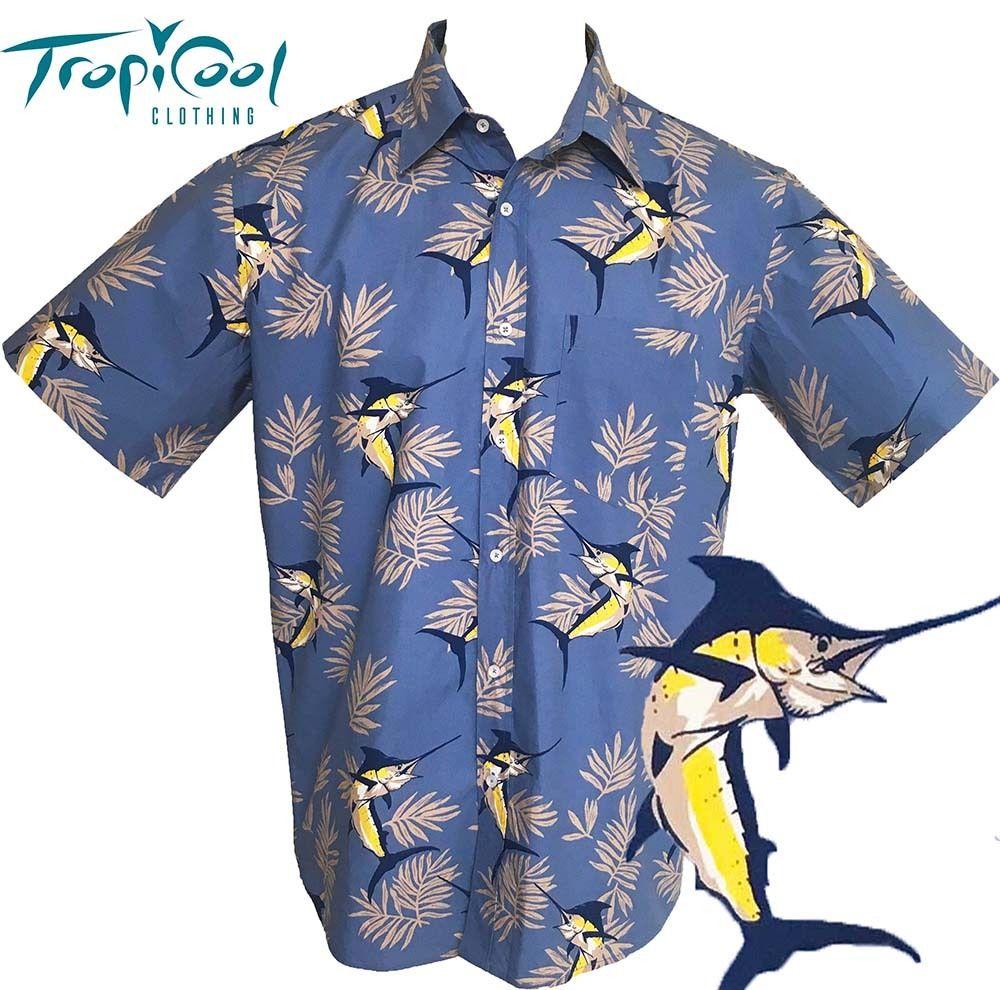 Fish mens hawaiian shirts cotton tiki tropicool clothing for Fish hawaiian shirt