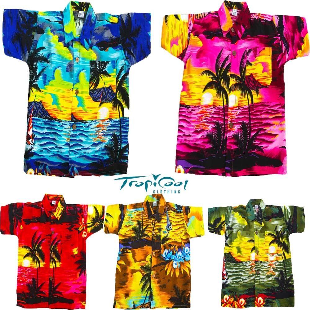 e4fd46e15ad Sunset Khaki Boys Girls Toddler Kids Hawaiian Shirts Rayon Fancy Dress
