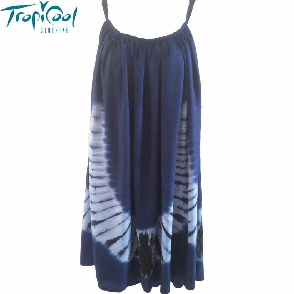Ladies Tie Dye Summer Dress Plus Size Navy Tropicool
