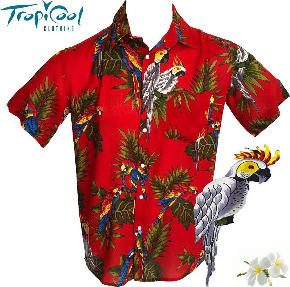 4866f615 Cockatoo Parrot Red Mens Hawaiian Shirts New Casual Cruise Rayon ...