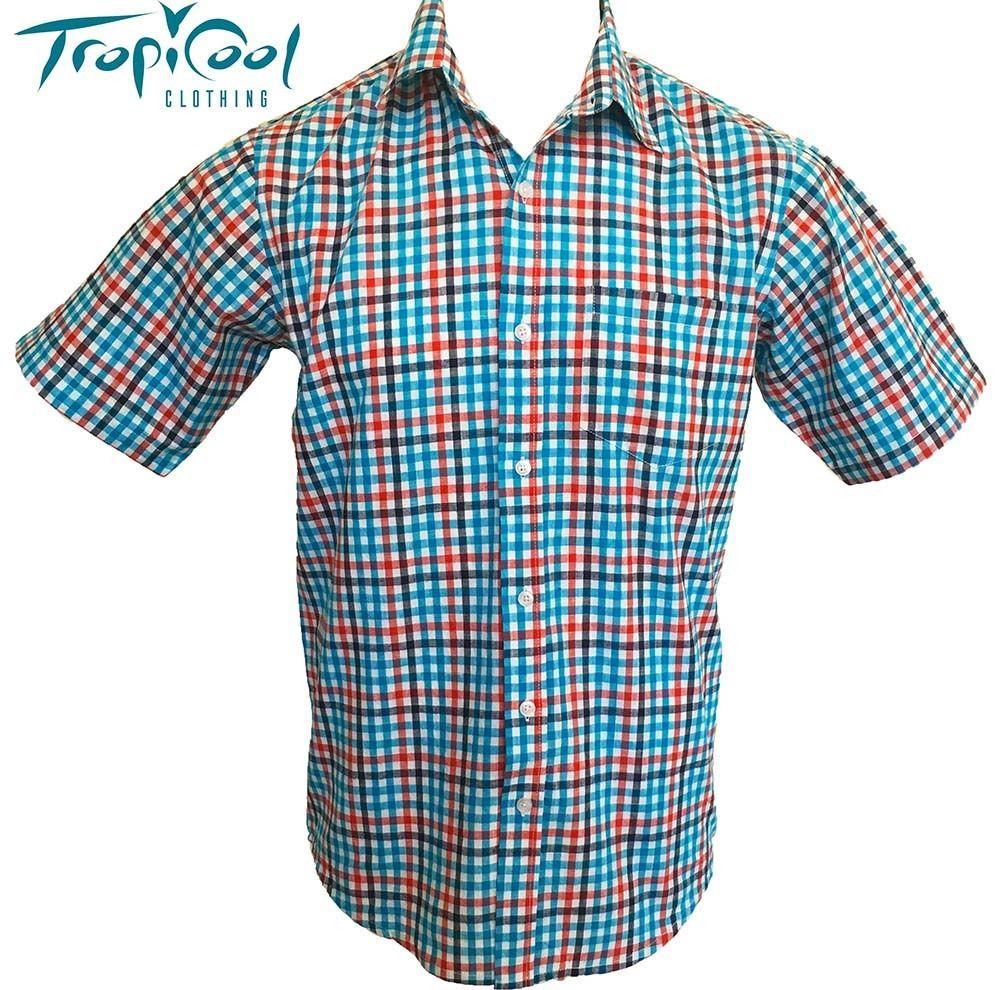 Mens casual work dress shirt button front cotton orange for Blue cotton work shirts