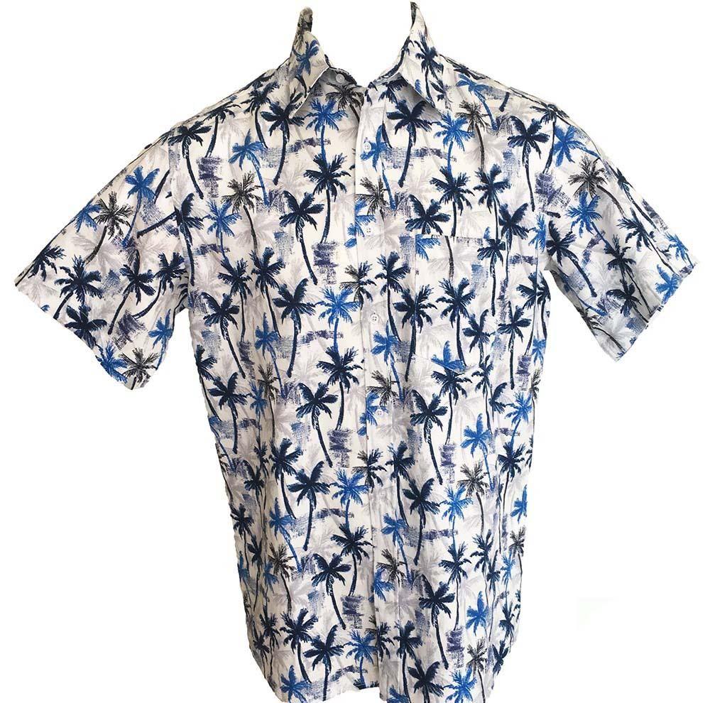 c19322c5de0 Tropical Palms Blue Mens Hawaiian Shirts Cotton - Tropicool Clothing